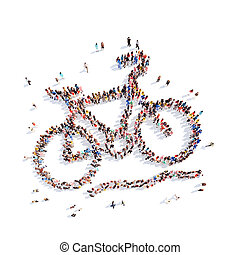 people in the form of a bicycle. - Large group of people in...
