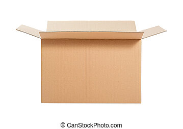 Opened cardboard box - Opened cardboard box Isolated on...