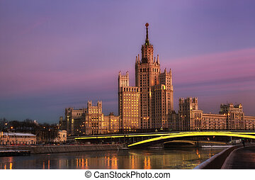 high-rise building on Konelnicheskaya Embankment in Moscow...