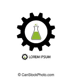 Chemical industry logo with black gearwheel and flask with...