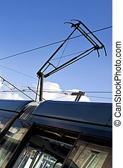 Tramway pantograph in the city of Bordeaux, France