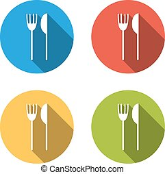 Collection of 4 isolated flat buttons (icons) for fork and...
