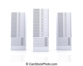19inch Server towers - 3D rendered Illustration. Isolated on...