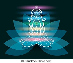 Yoga meditation woman lotus silhouette. Medium mind, zen and...