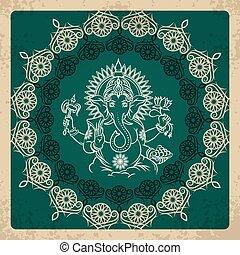Indian god elephant Ganesha vintage card Religion hinduism,...