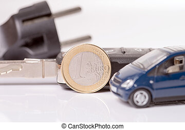 Electric Car - Power plug with euro money and car key
