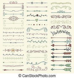 Vector Colorful Hand Drawn Dividers, Arrows, Swirls - Set of...