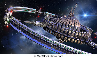 Futuristic spherical spaceship - Interstellar spaceship with...