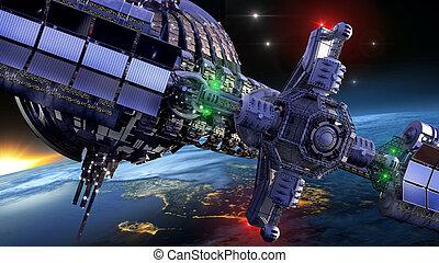 Futuristic spaceship wheel - Interstellar spaceship with...
