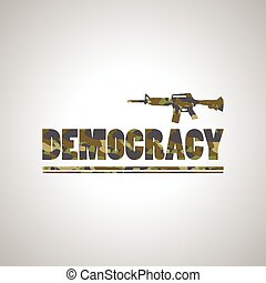 Soldier democracy green font on white background design