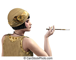 Flapper Lady in Profile - 1920s flapper in profile with a...
