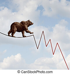 Bear Market Risk - Bear market risk financial concept as a...