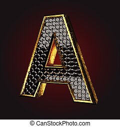 a black letter with gold