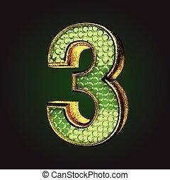 3, verde, carta, oro