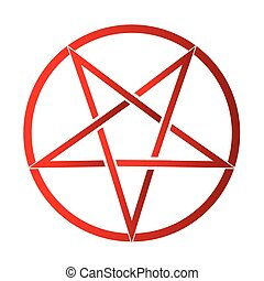 Pentagram - The five pointed pentagram over a white...