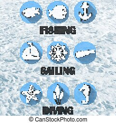 set of icons for water recreation - Set of icons for water...