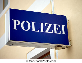 Police station - Sign with the german word police
