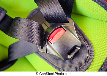 chilld closeup automobile safety belt (seat belt)