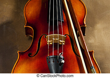 Violin close up - Vintage violin on old canvas background
