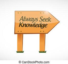 always seek knowledge wood sign concept illustration design...