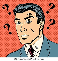 Male question marks misunderstanding Enigma men pop art...