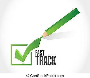 fast track check mark sign concept illustration design over...