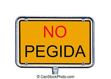 No Pegida - Sign with the german words No Pegida