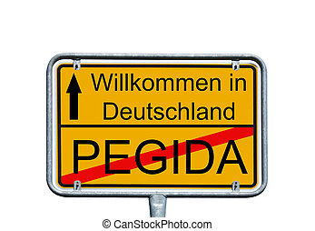 Pegida - Sign with the german words Germany and Pegida