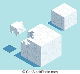 Puzzle Cube - 3D isometric puzzle cube with space f
