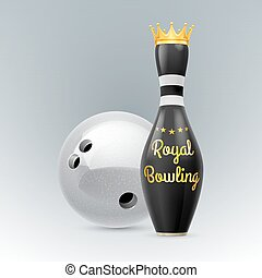 Bowling - Golden Crown at skittles isolated on a white...