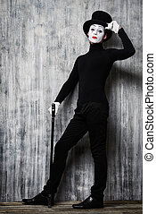 mime - Full length portrait of an elegant male mime artist...