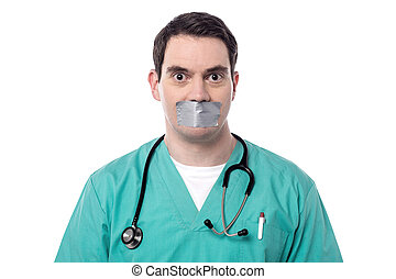 I dont tell anything - Male physician mouth covered by duct...
