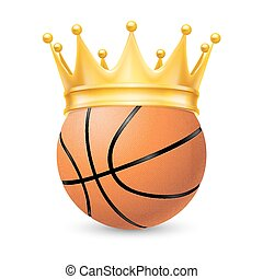 Gold crown on a basketball ball isolated on white