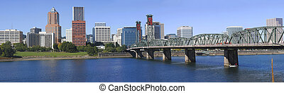 Hawthorne Bridge and Skyline - Hawthorne bridge and Portland...