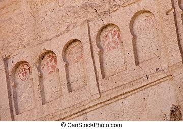 Frescoe of Crosses at Goreme Church in Cappadocia - Detail...