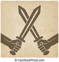 crossed swords old background vector illustration - eps 10