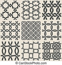Set of monochrome geometric seamless patterns Vector...