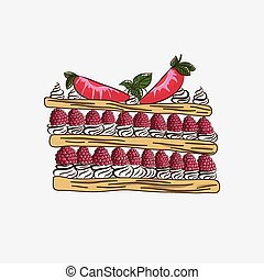 Millefeuille with raspberry and strawberry butter cream...