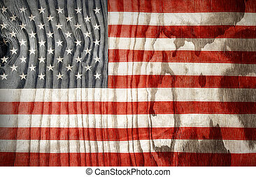 American flag - Closeup of American flag on wooden...