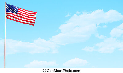 USA American Flag Day - USA American flag waving on bright...