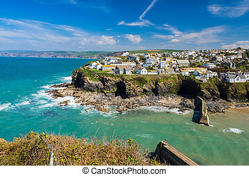 Port Isaac Cornwall England - Overlooking the harbour at the...