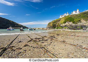 Port Isaac Cornwall England - The harbour and beach at Port...