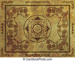 Magical Mystic Sigil Symbol Design on Parchment -...