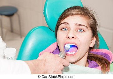 Patient at the dentist office is being treated