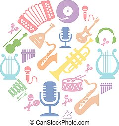 Multicolored music instruments silhouette in circle shape...