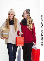 teen girls shopping for gifts
