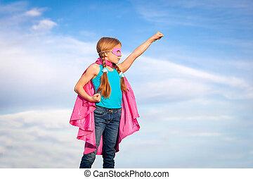 súper, niña, concepto, héroe, potencia