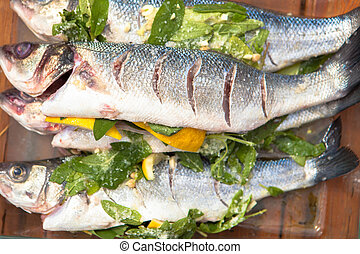 prepared sea bass fish for cooking