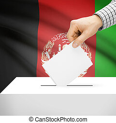 Ballot box with national flag on background - Afghanistan -...