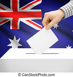 Ballot box with national flag on background - Australia -...